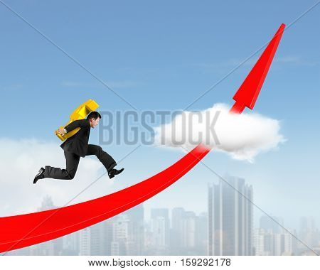 Man Carrying Dollar Sign Running On Red Arrow Up Graph