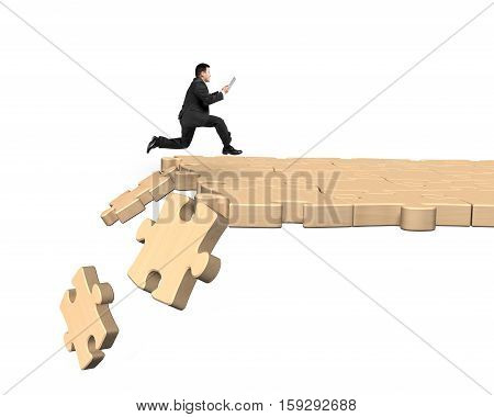 Man Using Tablet Running On Breaking Puzzle Path