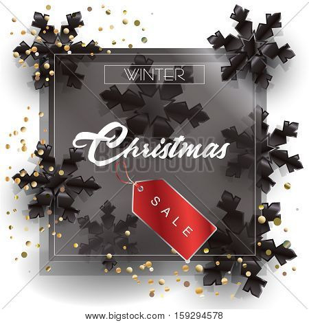Sale poster. Christmas Sale abstract background with red price tag and black snowflakes, gold confetti background. Vector illustration.