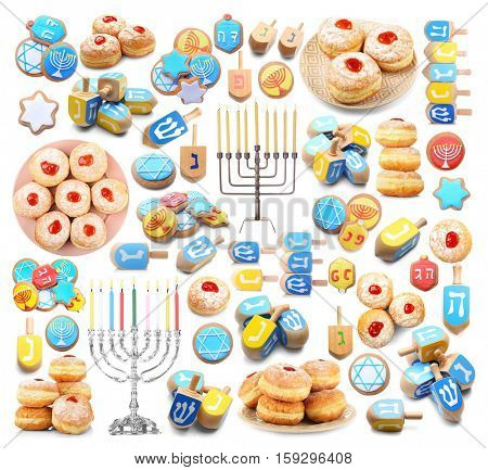 Hanukkah collage on white background. Hanukkah celebration concept.