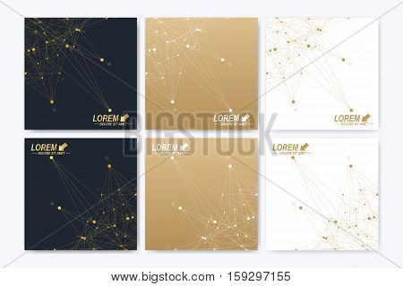 Modern vector template for square brochure, Leaflet, flyer, cover, booklet, magazine or annual report. Abstract golden presentation book layout. Golden cybernetic dots. Lines plexus. Card surface