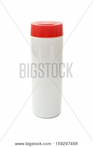 Plastic packaging for cleaning powder on a white background