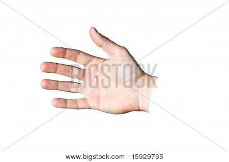 Fully Open Hand Isolated On White Background
