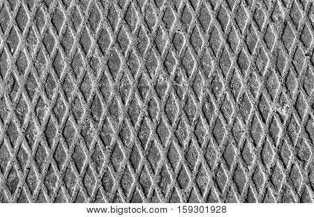 Metal Floor Texture With Sand In Black And White.
