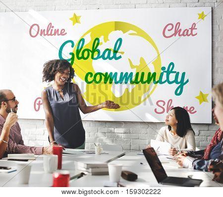 Global Community Communication Message Concept