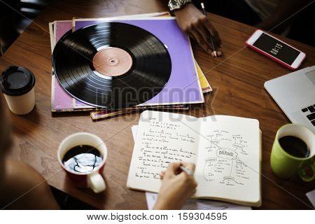 Human Hand Writing Notebook Vinyl Record Music Concept