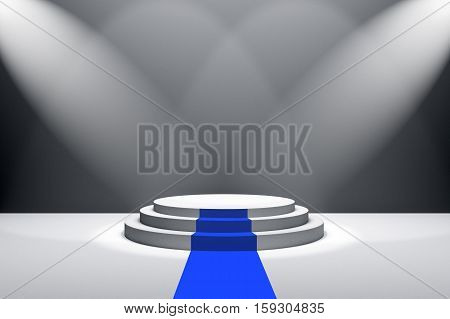 3D Rendering : Illustration Of Stage With Blue Carpet For Awards Ceremony. White Round Podium.first