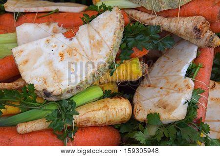 Bundle Of Fresh Cut Vegetables On Market