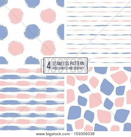 Set of seamless pattern of stripes, polka dots, mosaic spots in color 2016 rose quartz and serenity, seamless background lilac and pink lines, circle, point, stroke, hand drawn vector pattern