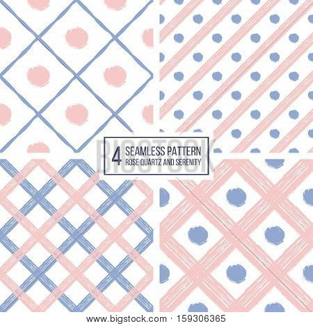 Grunge seamless pattern of diagonal stripes and circle in color 2016 rose quartz and serenity, seamless background grunge lines and points, hand drawn vector pattern for paper, wrapping, wedding