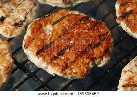 Chicken Or Turkey Burgers For Hamburger On Grill