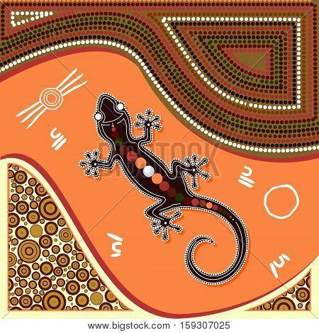 Aboriginal art vector painting. Illustration based on aboriginal style of dot painting.