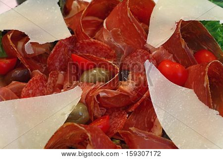 Italian Antipasti Plate With Parmigiano Cheese