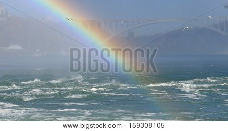 Rainbow at Niagara Falls in Canada with Rainbow Bridge