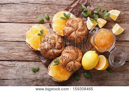 Sweet Buns With Lemon Marmalade And Butter. Horizontal Top View