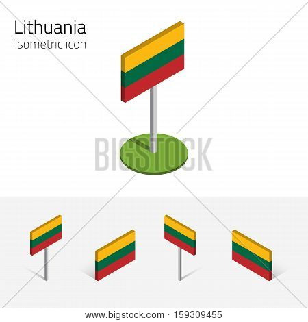 Lithuanian flag (Republic of Lithuania) vector set of isometric flat icons 3D style different views. Editable design elements for banner website presentation infographic poster map. Eps 10