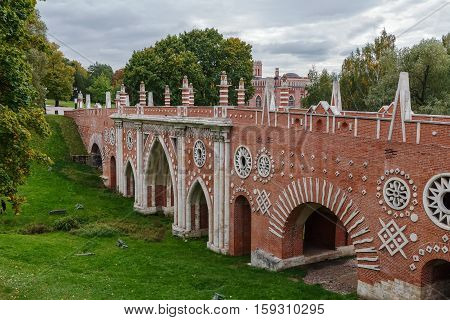Greenhouse bridge in Tsaritsyno Park in Moscow Russia