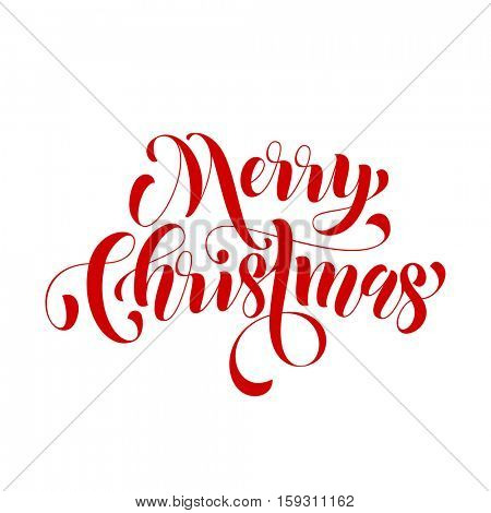 Creative typography Merry Christmas vector text type calligraphy. Lettering design for greeting card or gift poster template. Calligraphic style font for Christmas holiday banner