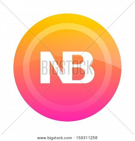 The NB button (note). Vector illustration. Dark outline on a white background. Icon sign symbol.