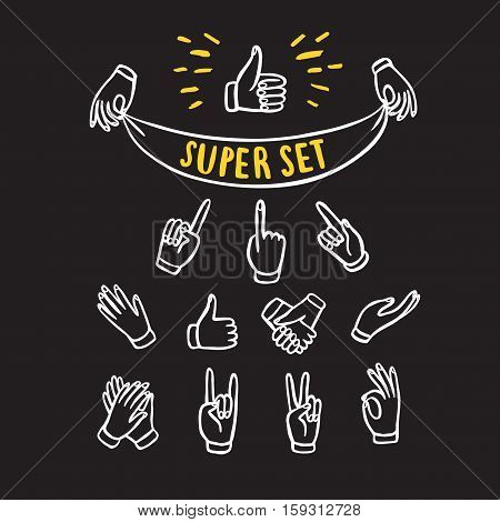 Set of hands showing different signs such as pointing like dislike victory holding labels. Hand drawn brush vector cartoon illustration for your design.