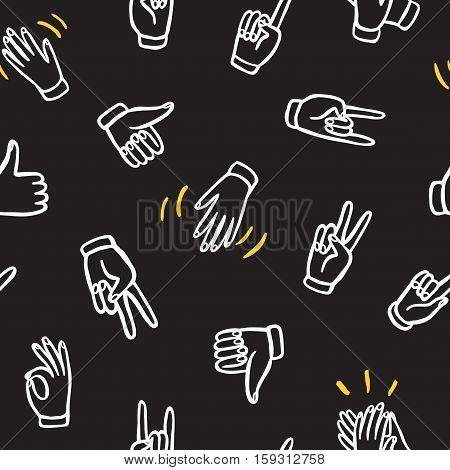 Seamless pattern with hands showing different signs such as pointing like dislike victoryrock. Hand drawn background for your design.