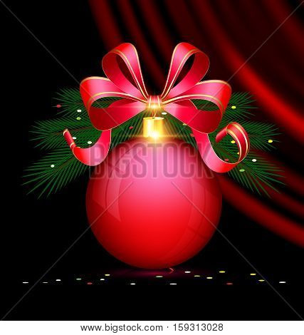 black background dark crimson drape and the large red ball with branch of tree and bow