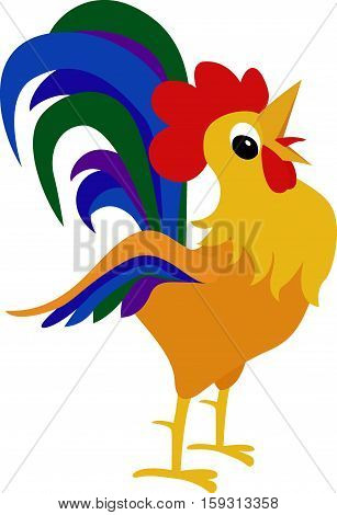 Rooster, cock cartoon illustration. Holiday card design element. Chinese year symbol.