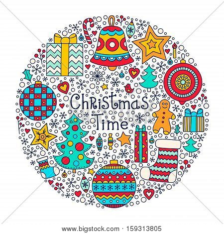 Christmas Time. Vector hand drawn winter element - christmas tree gingerbread man star sock berries snowflake ball bell. On white background. Isolated.