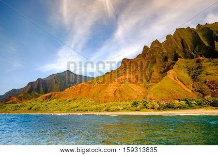 Landscape View Of Na Pali Coastline Cliffs And Beach, Kauai, Hawaii
