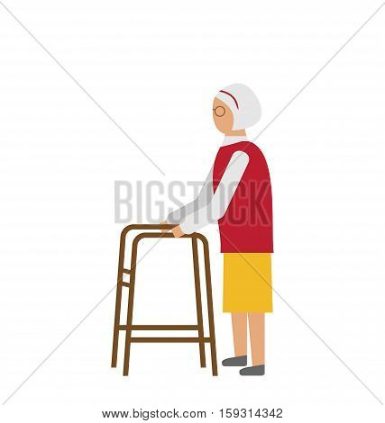 Illustration Old Disabled Woman Isolated on White Background. Cripple Female on Walker. Physiotherapy and Rehabilitation for Invalids - Vector