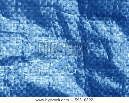 Blue Color Plastic Bag Surface With Blur Effect.
