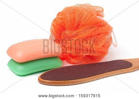 sponge shower with grater for feet and soap isolated on white background.