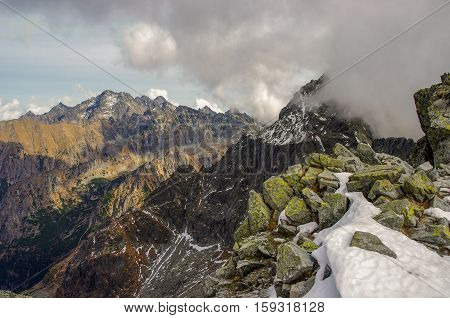Amazing autumnal view of mountains. High Tatras. Slovakia