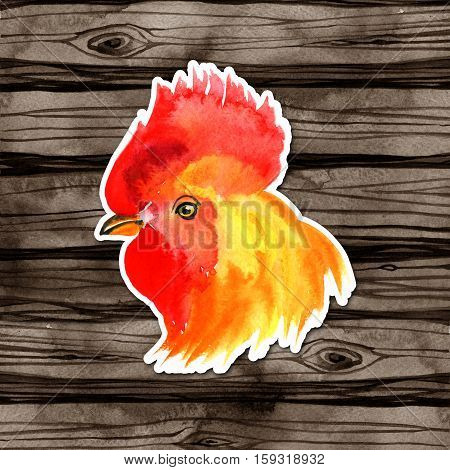 watercolor Chinese New Year card Design with red rooster, zodiac symbol of 2017, on wood background.