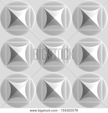 3d illustration. Seamless vintage white texture based repetitive relief circles with inscribed squares.