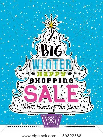 Poster with Christmas tree snowflakes and sale offer vector illustration