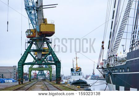 cranes at the port, cargo terminal, industry