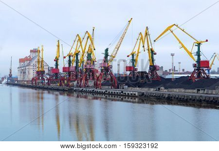 cranes at the port, cargo terminal, industrial