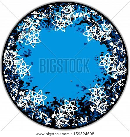 Scalable vectorial image representing a floral blue round frame, isolated on white.
