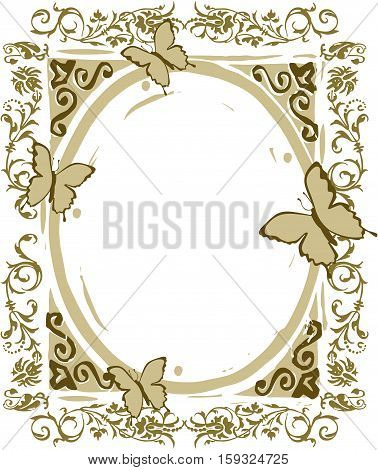 Scalable vectorial image representing a floral frame with butterflies, isolated on white.