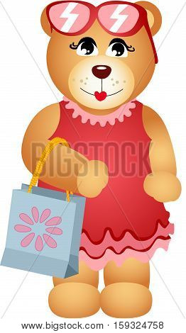Scalable vectorial image representing a girl teddy bear with shop bag, isolated on white.