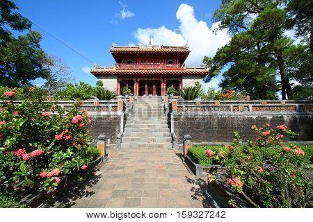 HUE VIETNAM - AUG 31 2009: Tomb of Minh Mang of the Nguygen dynasty near Hue Vietnam