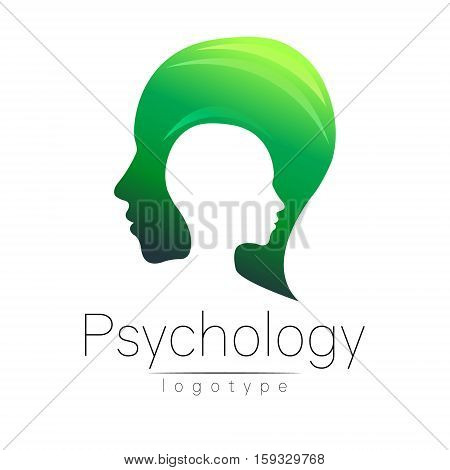 Modern head logo of Psychology. Profile Human. Creative style. Logotype in vector. Design concept. Brand company. Green yellow color isolated on white background. Symbol for web, print, card. Keyhole
