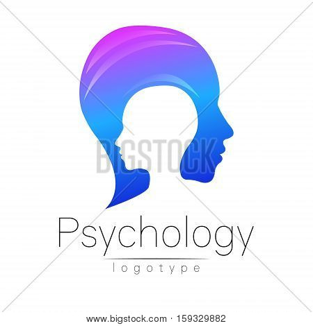 Modern head logo of Psychology. Profile Human. Creative style. Logotype in vector. Design concept. Brand company. Pink blue color isolated on white background. Symbol for web, print, card. Keyhole