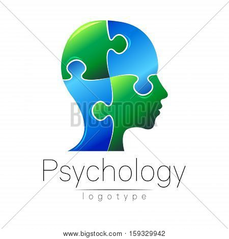 Modern head puzzle logo of Psychology. Profile Human. Creative style. Logotype in vector. Design concept. Brand company. Blue green color isolated on white background. Symbol for web, print, card, Illustration