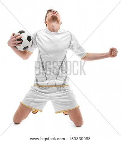 Professional football player on white background