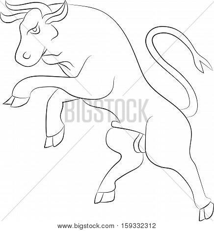 Silhouette Bull rebelling. Vector illustration. White contour
