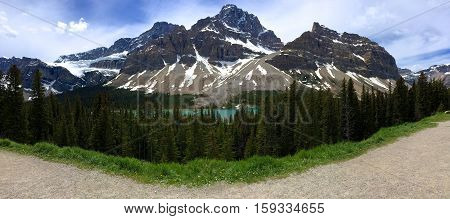 A mountain panorama in the Icefields Parkway. Alberta, Canada