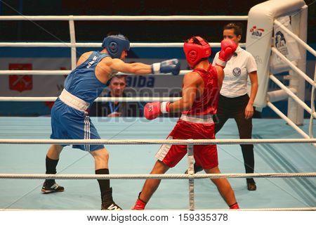St. Petersburg Russia November 21 2016 AIBA Youth World Boxing Championships men heavy 81 kg. Boxing match between: RED- Tursunov C. Uzbekistan BLUE -Nurdauletov B. Kazakhstan