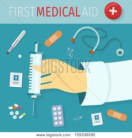 First medical aid set of icons. Health and medical equipment medicine and hospital care and pill, healthcare and pharmacy. Syringe, thermometer, pills, drugs, stethoscope, plaster, pins. Vector